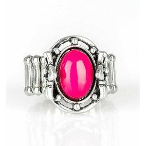 Color Me Confident Pink Flowers Stretch Ring Oval